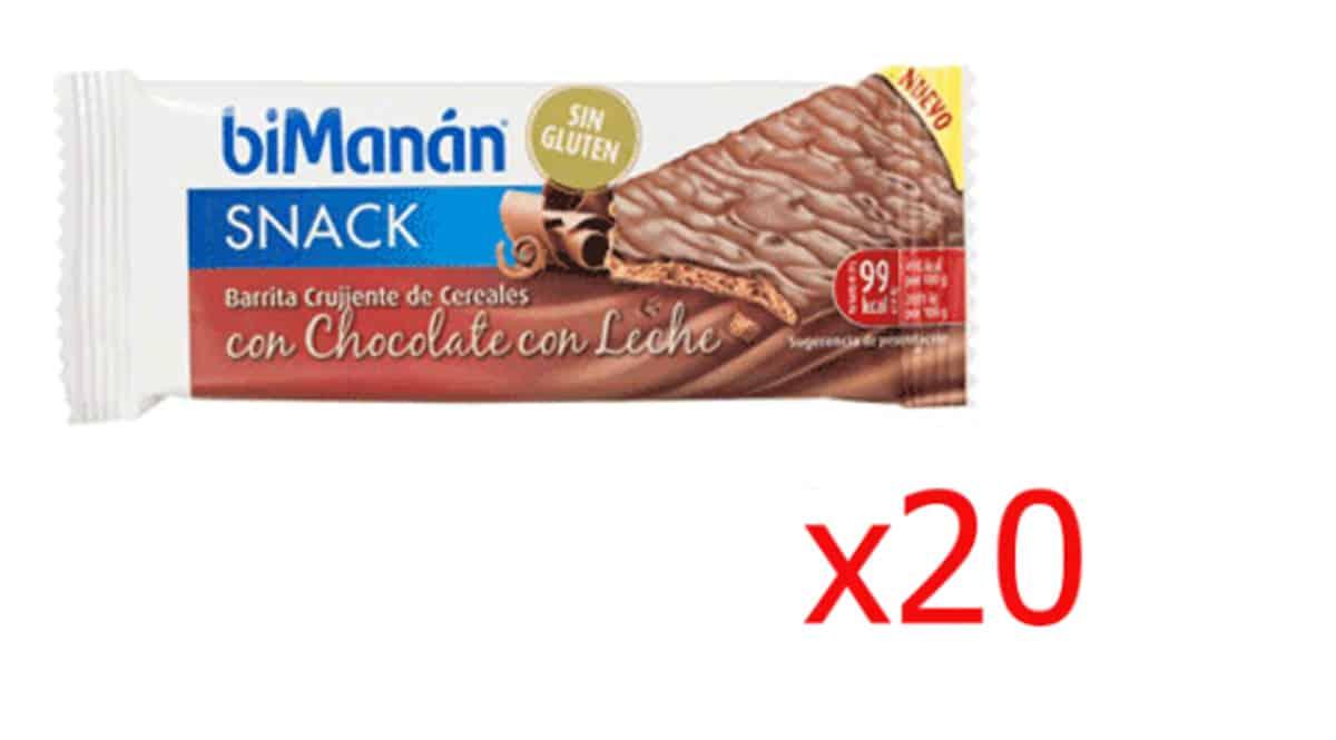 Barritas Bimanan con chocolate con leche baratas, snacks baratos, ofertas alimentación saludable, chollo