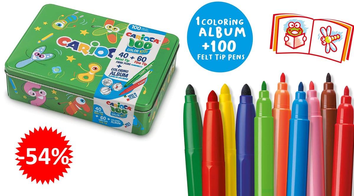 Caja rotuladores + álbum Carioca Box barata, rotuladores de marca baratos, ofertas para niños, chollo