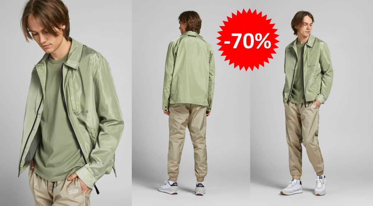 Chaqueta de entretiempo Jack & Jones verde barata, ropa de marca barata, ofertas en chaquetas chollo