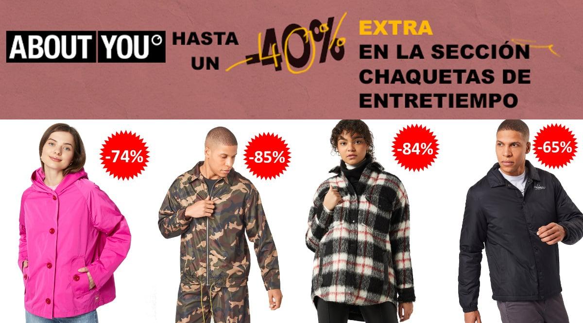 Descuento EXTRA chaquetas de entretiempo About You, ropa de marca barata, ofertas en chaquetas chollo