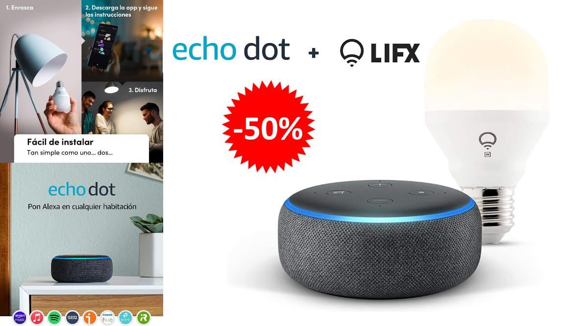 Echo Dot 3.ª generación + bombilla inteligente LIFX barato, altavoces inteligentes baratos, ofertas para la casa chollo