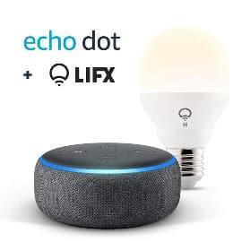 Echo Dot 3.ª generación + bombilla inteligente LIFX barato, altavoces inteligentes baratos, ofertas para la casa