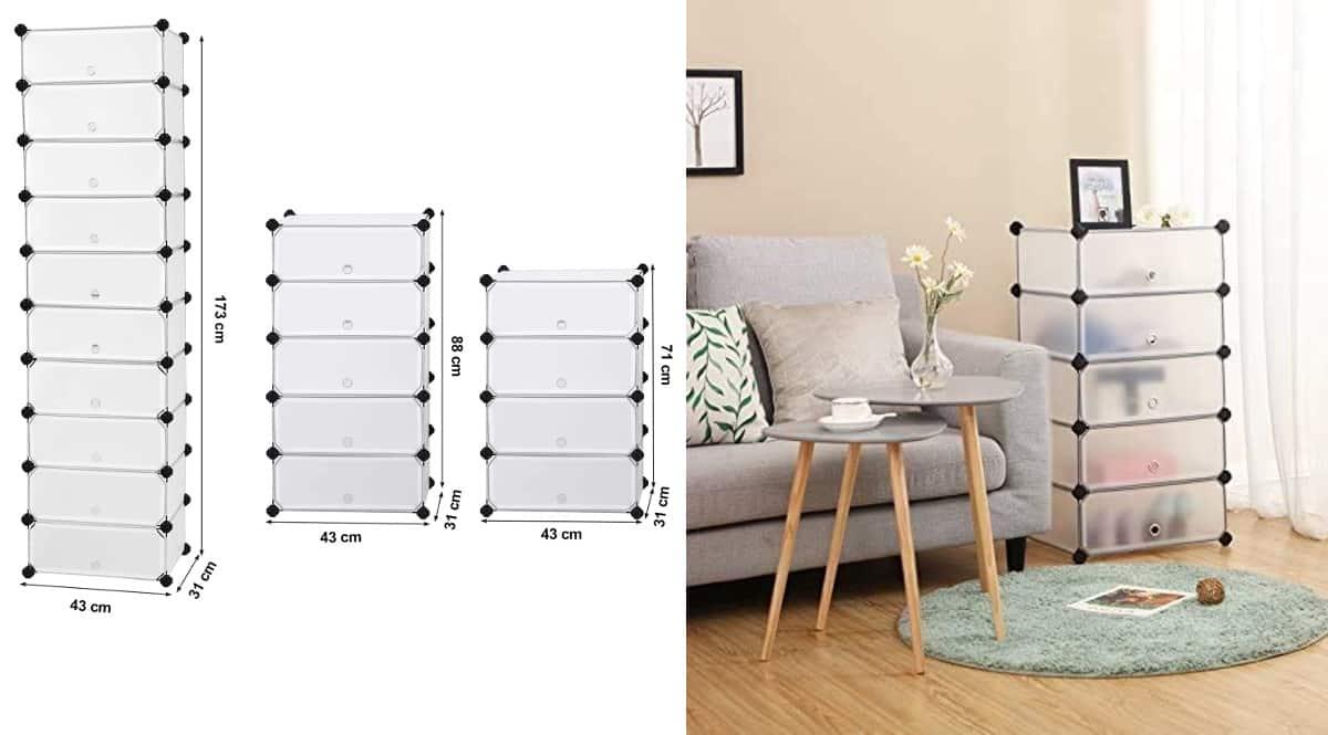 Estantería modular de 10 cajones Songmics barata, estanterías baratas, ofertas hogar, chollo