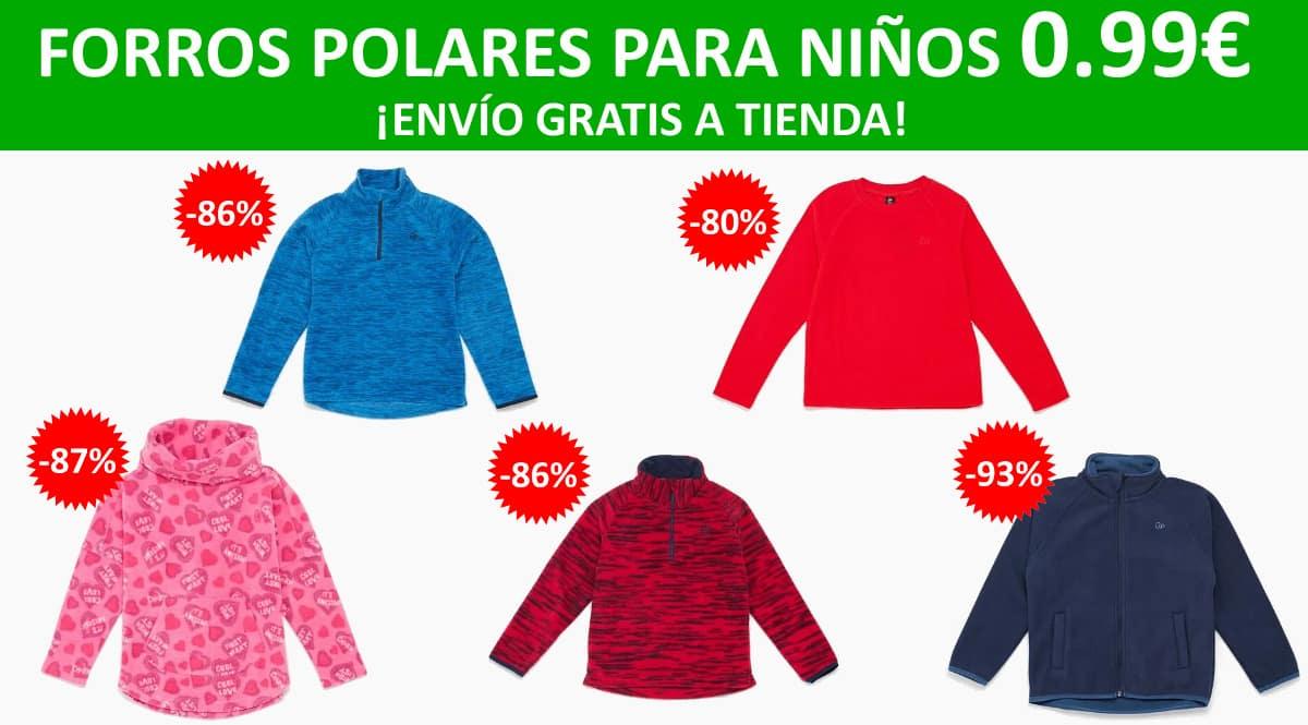 Forros polares para niños a 0.99 euros, ropa de marca barata, ofertas para niños chollo