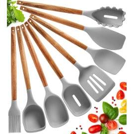¡Código descuento! Juego de utensilios de cocina de silicona, 8 piezas, sólo 9.99 euros. 50% de descuento.