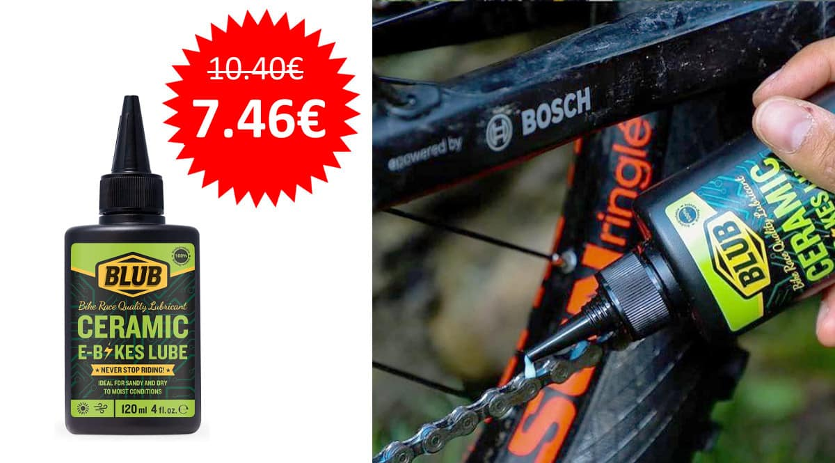 ¡¡Chollo!! Lubricante para cadenas de bicicletas eléctricas Blub Ceramic Lube 120ml sólo 7.46 euros.