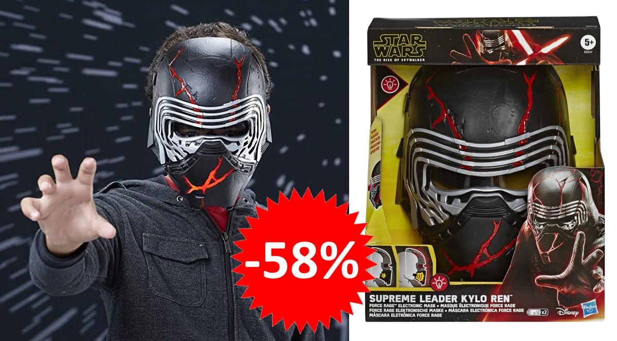 ¡Precio mínimo histórico! Máscara electrónica Hasbro Kylo Ren Star Wars sólo 20 euros. 58% de descuento.