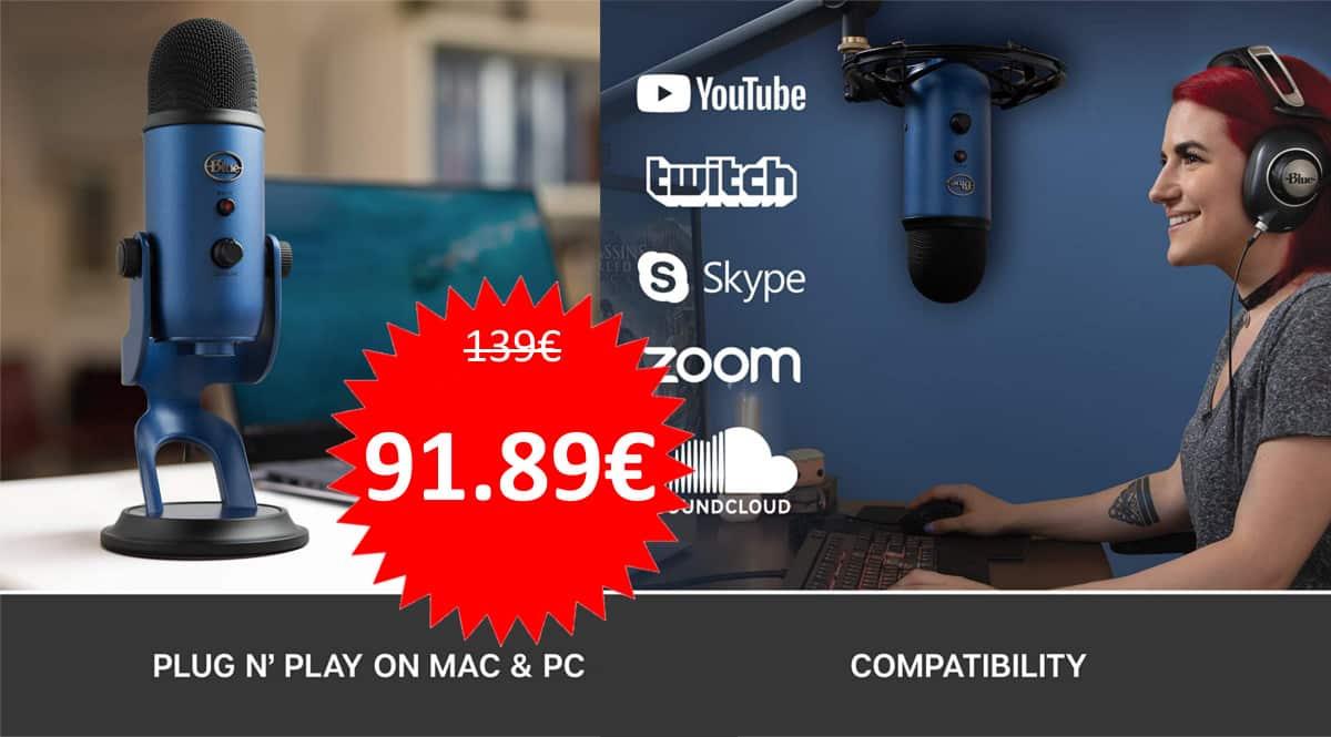 Micrófono USB Blue Yeti barato. Ofertas en micrófonos, micrófonos baratos, chollo