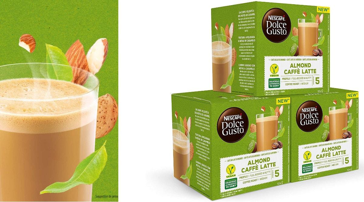 Pack cápsulas Nescafé Dolce Gusto leche de almendra baratas, cápsulas de café de marca baratas, ofertas supermercado, chollo
