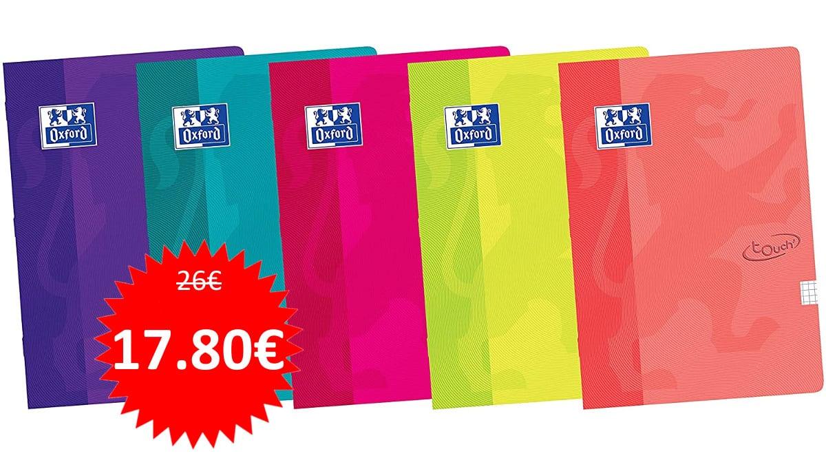 Pack de 10 cuadernos Oxford A4 de tapa blanda. Ofertas en material escolar, material escolar barato, chollo