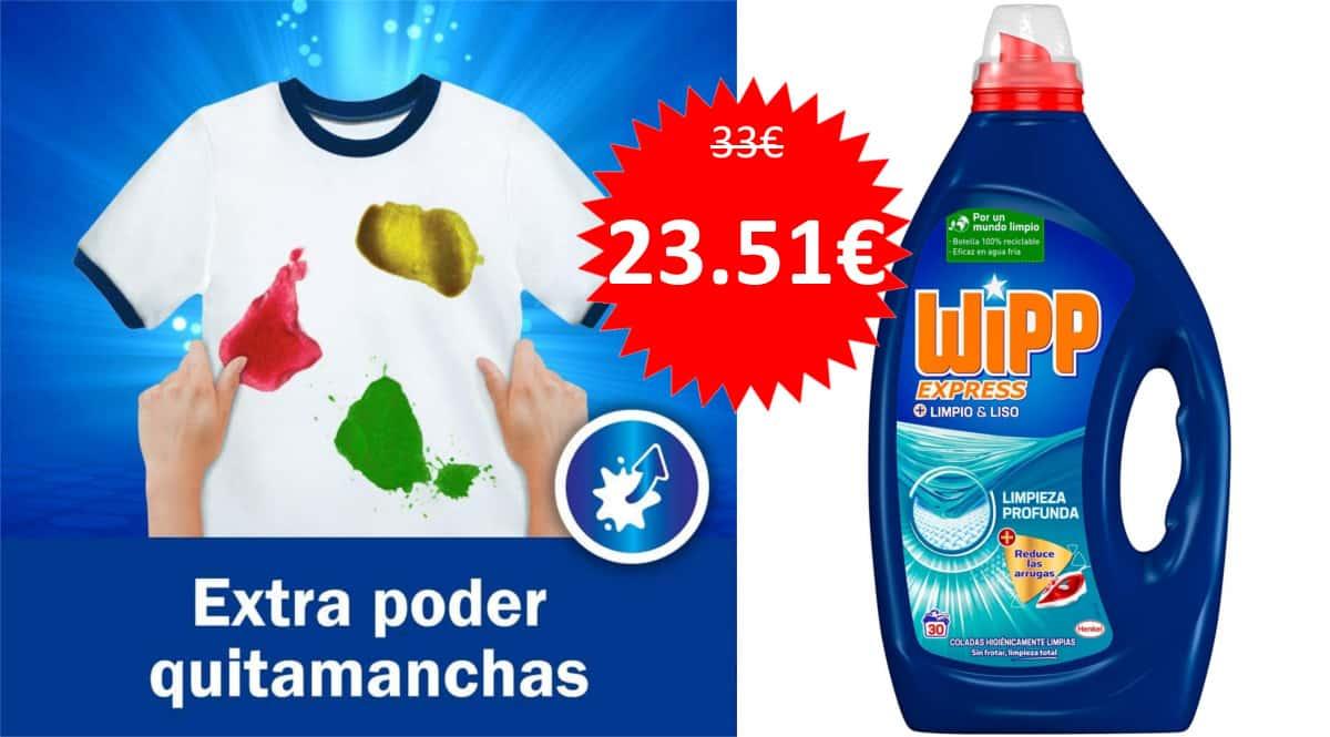 Pack de 120 lavados de detergente líquido Wipp Express Limpio y Liso barato. Ofertas en supermercado, chollo