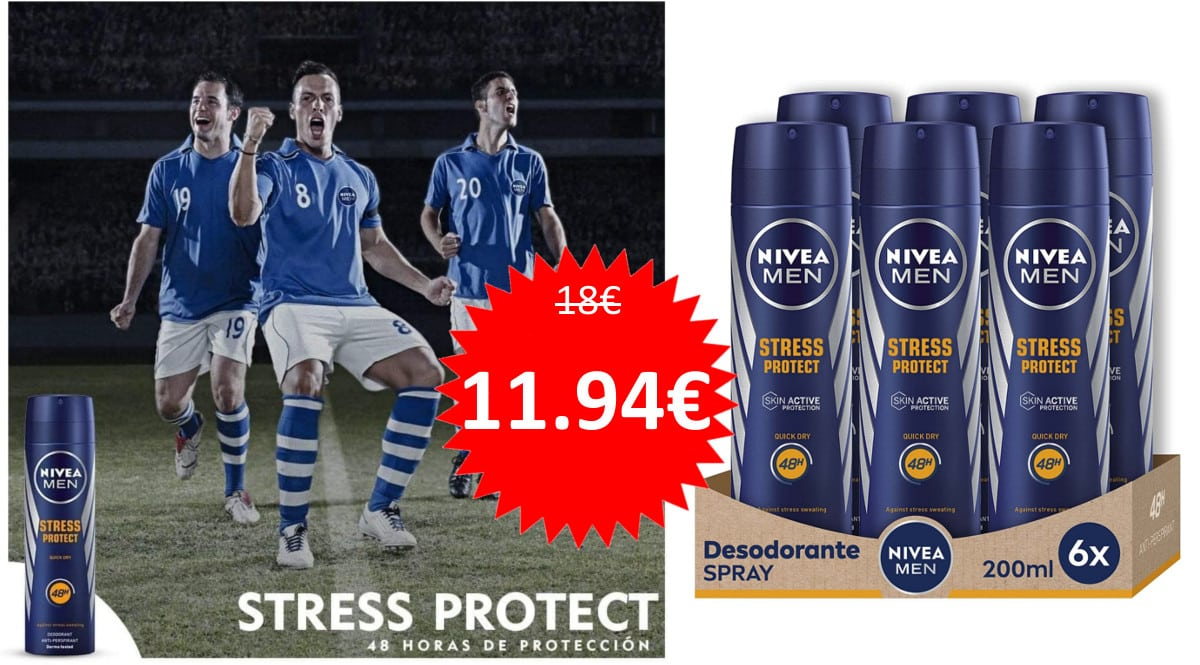Pack de 6 desodorantes Nivea Men Stress Protect barato. Ofertas en supermercado, chollo