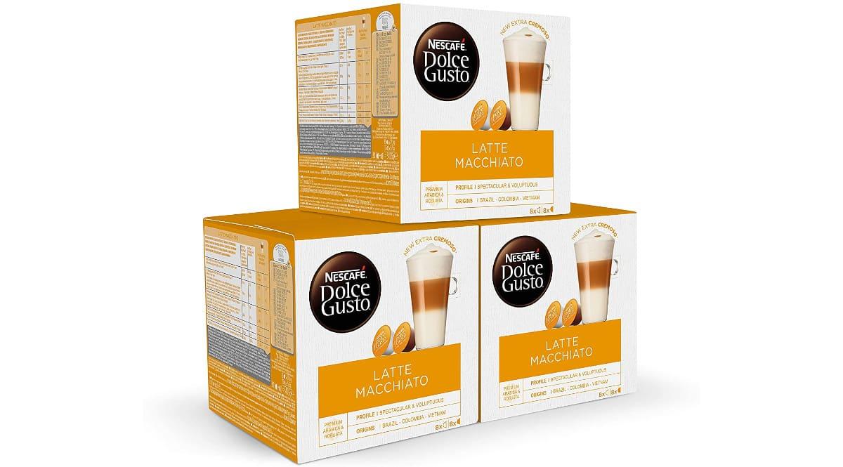 Pack de cápsulas Nescafé Dolce Gusto Latte machiatto barato, cápsulas de café de marca baratas, ofertas supermercado, chollo