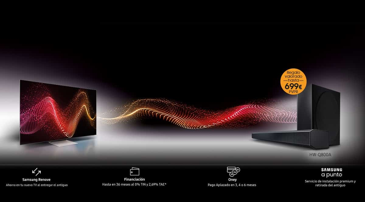 ¡Samsung Renove! Ahorra hasta 905 euros entregando tu antiguo televisor. Llévate una barra de sonido y 200 euros de regalo.