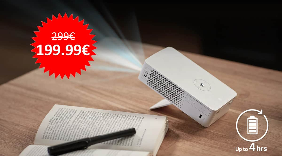 ¡¡Chollo!! Proyector con batería integrada LG CineBeam PH30JG sólo 199 euros. Te ahorras 100 euros.