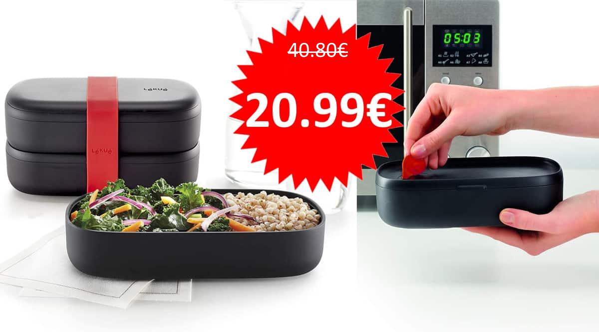 Recipiente hermetico Lekue Lunchbox to Go con cubiertos barato. Ofertas en fiambreras, fiambreras baratas,chollo