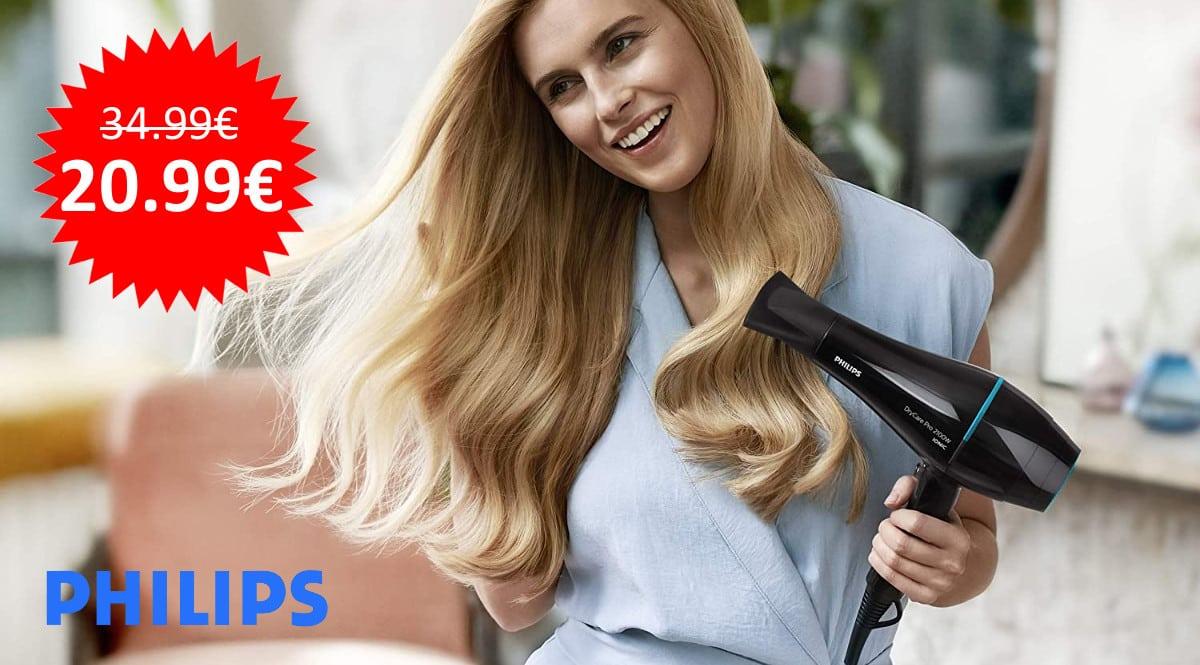 ¡Precio mínimo histórico! Secador de pelo 2100W Philips DryCare Advanced Pro sólo 20.99 euros.