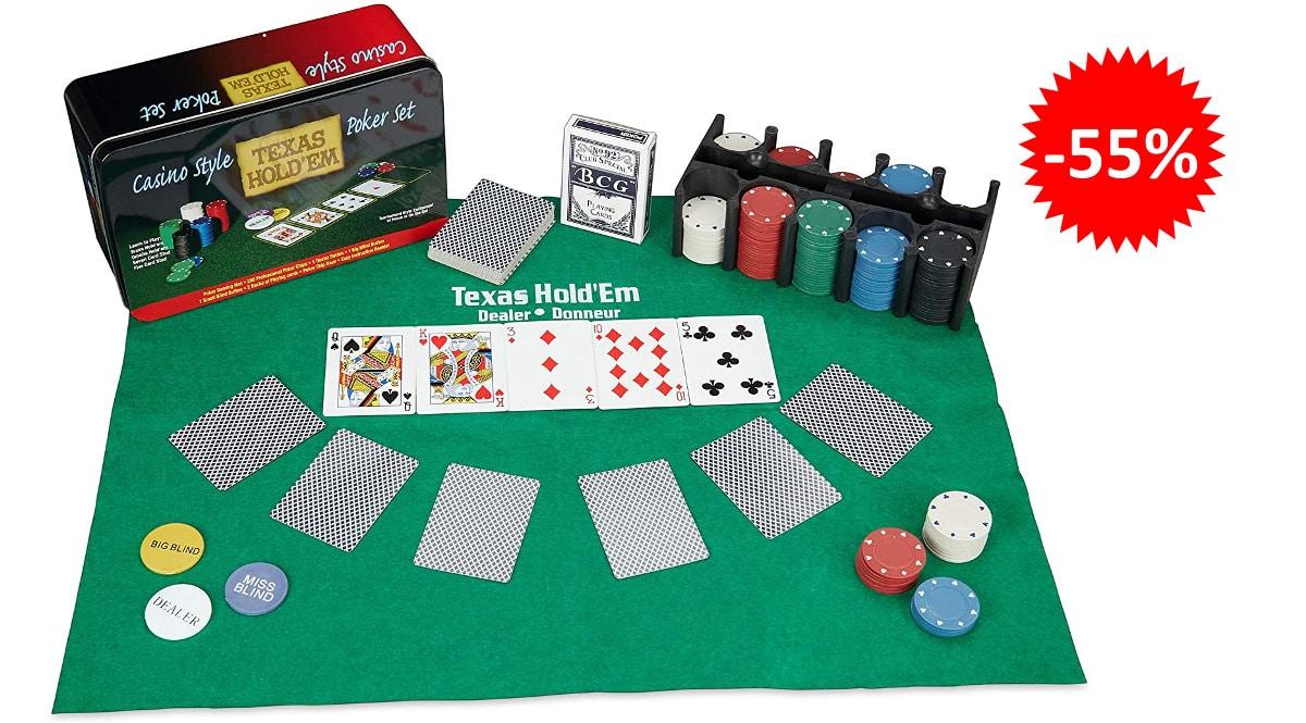 Set de póker Relaxdays barato, juegos baratos, ofertas en juegos de cartas chollo