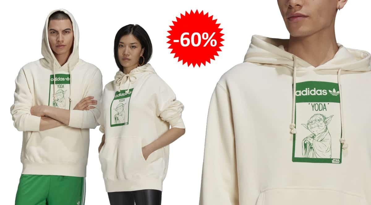 Sudadera unisex Adidas x Yoda barata, ropa de marca barata, ofertas en sudaderas chollo
