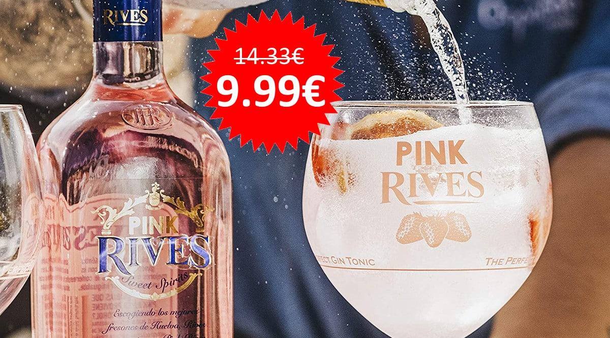 ¡Precio mínimo histórico! Ginebra Rives Pink botella 70cl sólo 9.99 euros.