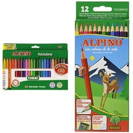 Pack de 12 lapiceros + 24 rotuladores Alpino barato, material escolar de marca barato, ofertas para niños