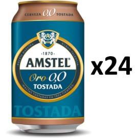 Pack de 24 latas de cerveza Amstel 0.0 tostada barato. Ofertas en supermercado